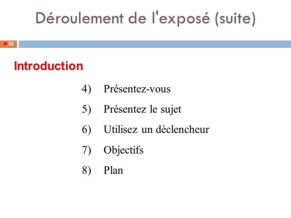 4)Présentez-vous 5)Présentez le sujet 6)Utilisez un déclencheur 7)Objectifs 8)Plan Introduction 22 Déroulement de l exposé (suite)