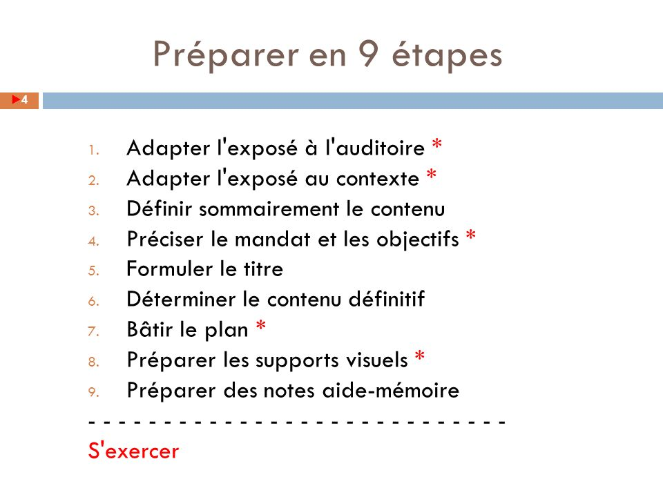1. Adapter l exposé à l auditoire * 2. Adapter l exposé au contexte * 3.