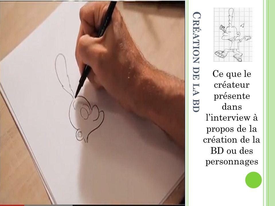 Ce que le créateur présente dans linterview à propos de la création de la BD ou des personnages C RÉATION DE LA BD