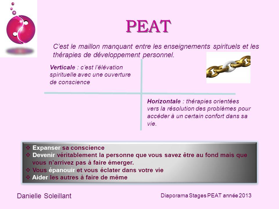 PEAT Cest le maillon manquant entre les enseignements spirituels et les thérapies de développement personnel. Danielle Soleillant Diaporama Stages PEA