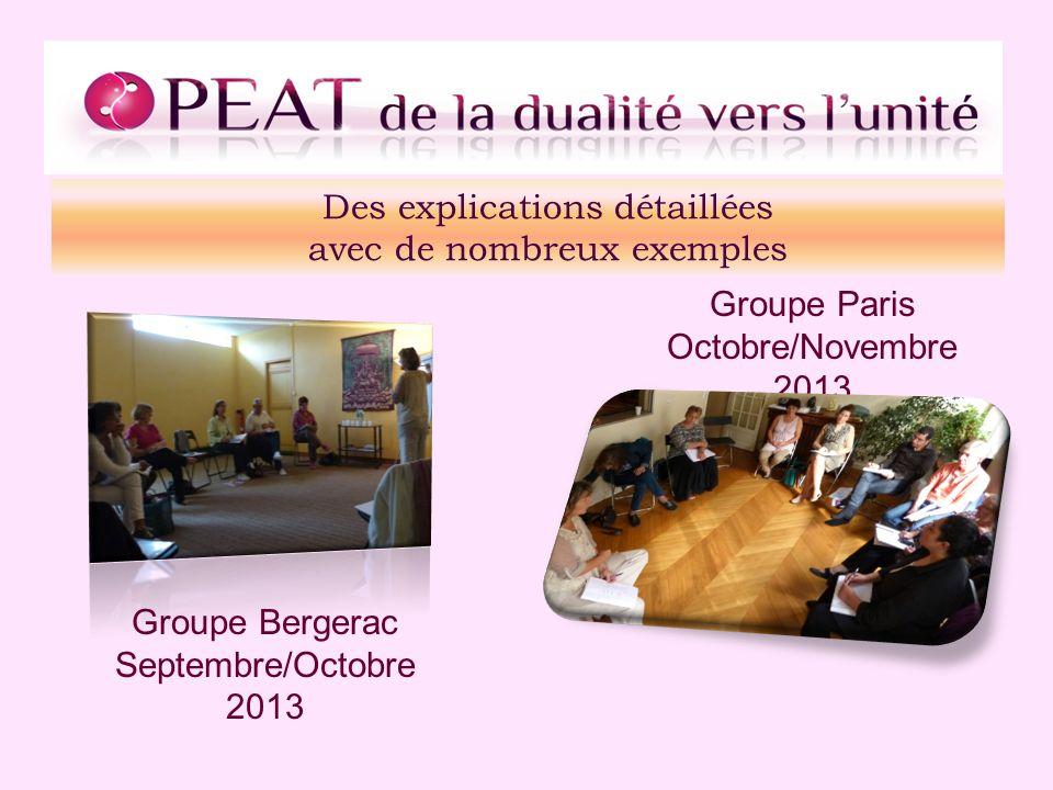 Des explications détaillées avec de nombreux exemples Groupe Bergerac Septembre/Octobre 2013 Groupe Paris Octobre/Novembre 2013