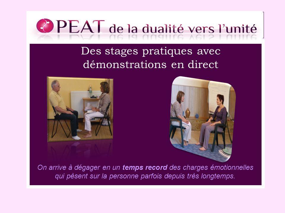 Beaucoup de pratiques entre les participants pour bien maîtriser la méthode La méthode PEAT sinspire à la fois des philosophies orientales et des thérapies énergétiques