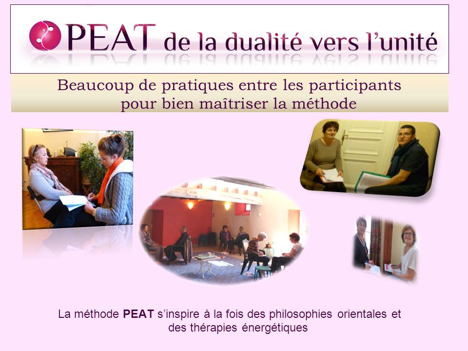 Beaucoup de pratiques entre les participants pour bien maîtriser la méthode La méthode PEAT sinspire à la fois des philosophies orientales et des thér