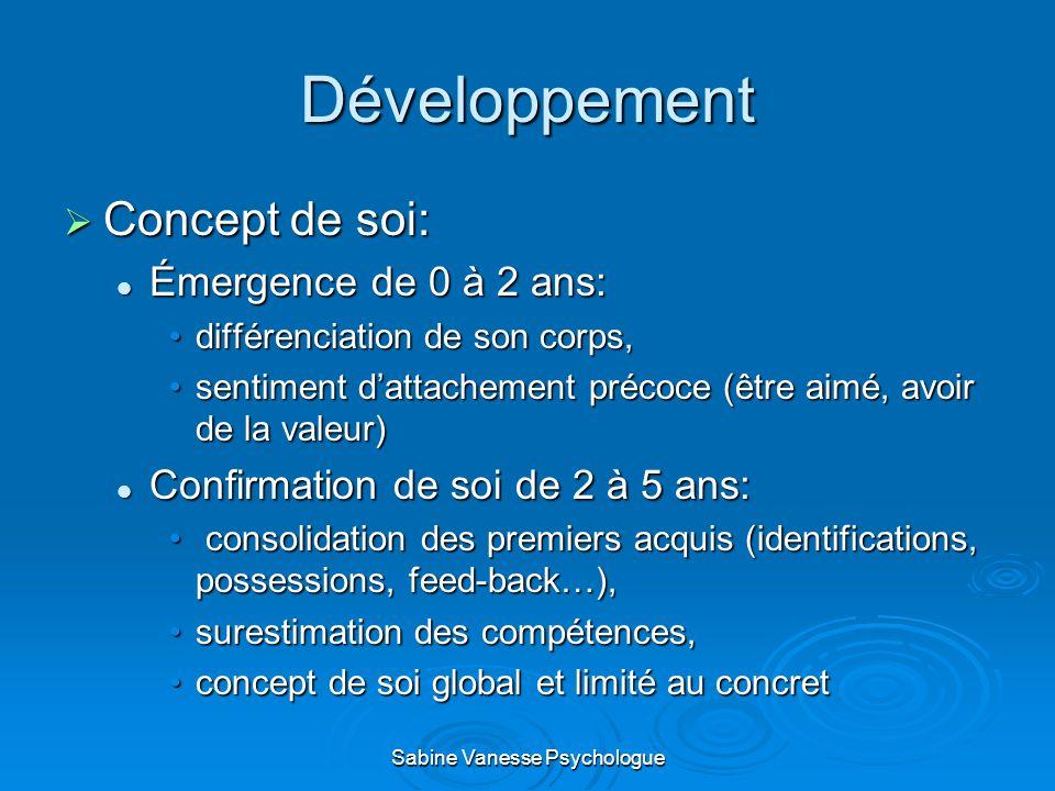 Développement Concept de soi: Concept de soi: Émergence de 0 à 2 ans: Émergence de 0 à 2 ans: différenciation de son corps,différenciation de son corp