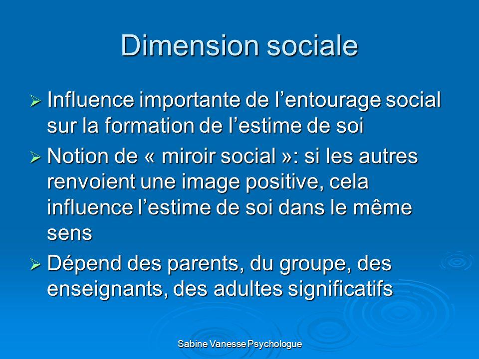 Dimension sociale Influence importante de lentourage social sur la formation de lestime de soi Influence importante de lentourage social sur la format
