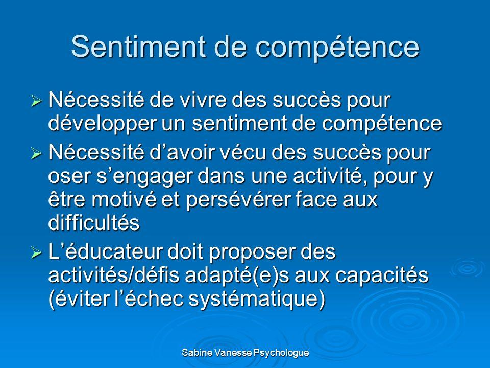 Sentiment de compétence Nécessité de vivre des succès pour développer un sentiment de compétence Nécessité de vivre des succès pour développer un sent