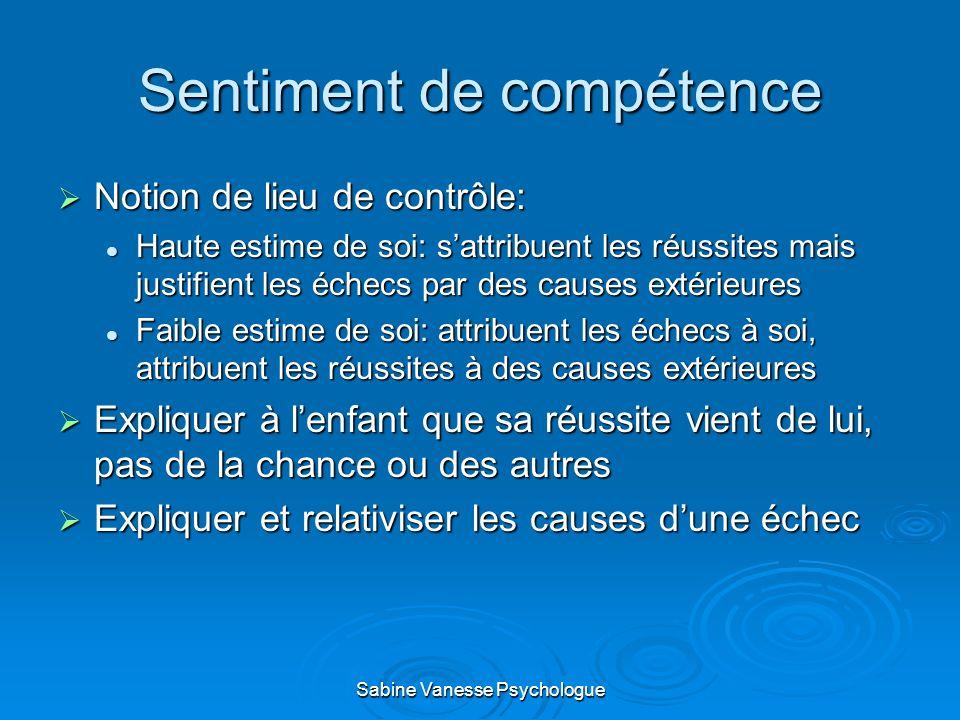 Sentiment de compétence Notion de lieu de contrôle: Notion de lieu de contrôle: Haute estime de soi: sattribuent les réussites mais justifient les éch