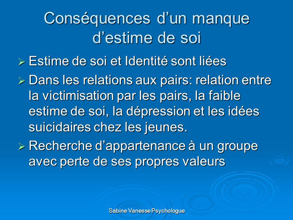 Conséquences dun manque destime de soi Estime de soi et Identité sont liées Estime de soi et Identité sont liées Dans les relations aux pairs: relatio