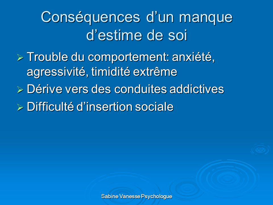 Conséquences dun manque destime de soi Trouble du comportement: anxiété, agressivité, timidité extrême Trouble du comportement: anxiété, agressivité,