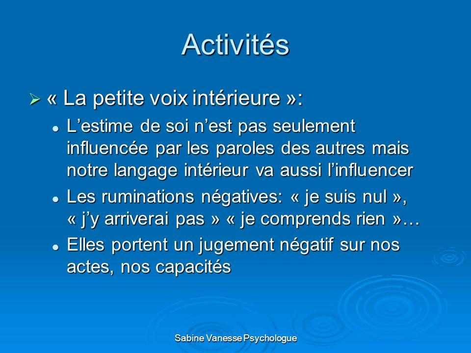 Activités « La petite voix intérieure »: « La petite voix intérieure »: Lestime de soi nest pas seulement influencée par les paroles des autres mais n