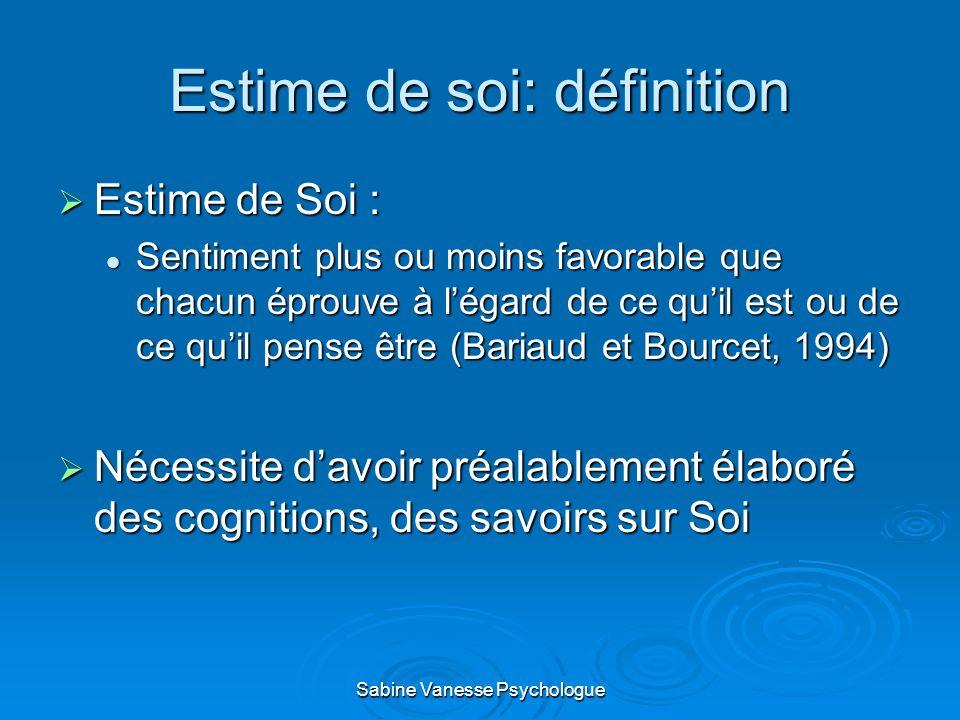 Estime de soi: définition Estime de Soi : Estime de Soi : Sentiment plus ou moins favorable que chacun éprouve à légard de ce quil est ou de ce quil p