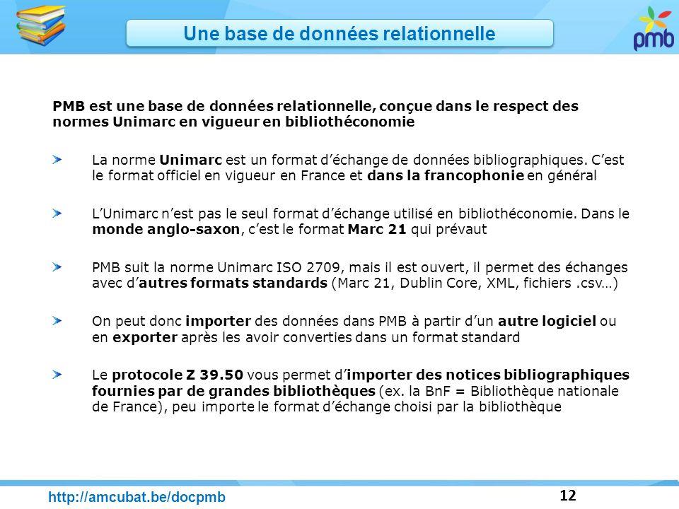 12 http://amcubat.be/docpmb PMB est une base de données relationnelle, conçue dans le respect des normes Unimarc en vigueur en bibliothéconomie La nor