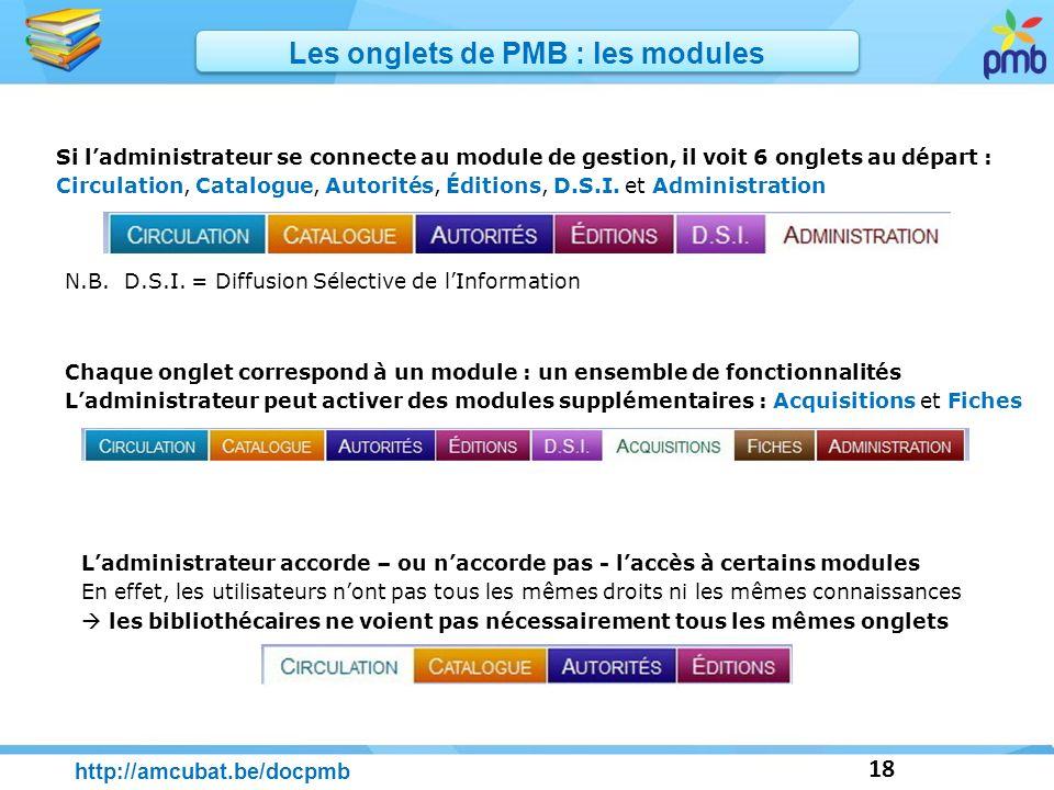 18 Chaque onglet correspond à un module : un ensemble de fonctionnalités Ladministrateur peut activer des modules supplémentaires : Acquisitions et Fi