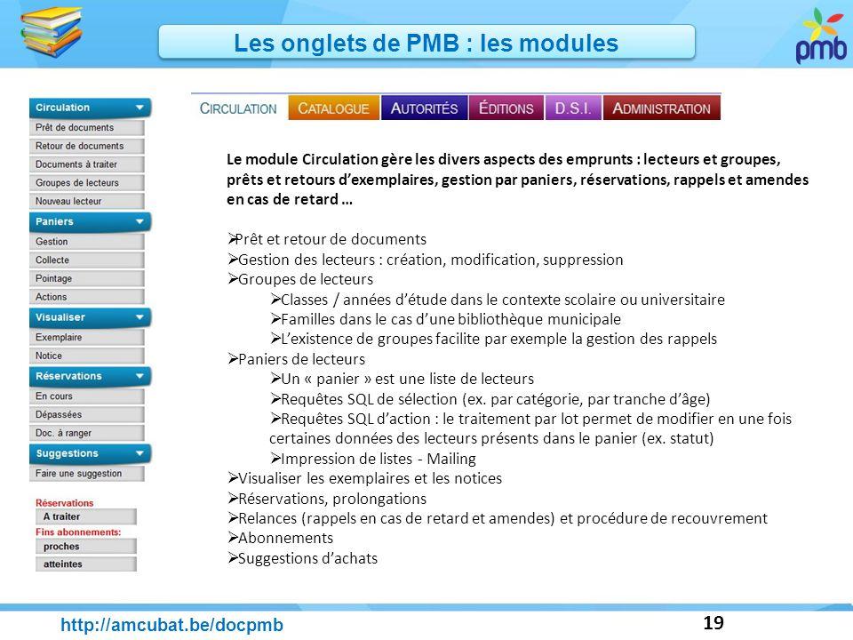 19 http://amcubat.be/docpmb Les onglets de PMB : les modules Le module Circulation gère les divers aspects des emprunts : lecteurs et groupes, prêts e