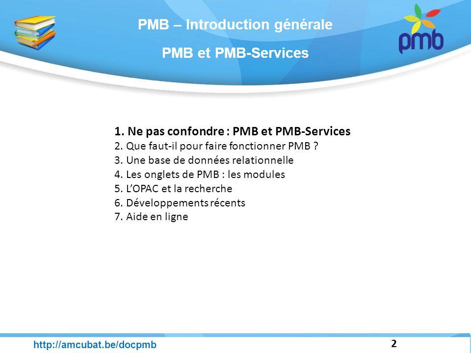 3 http://amcubat.be/docpmb Ne pas confondre : PMB et PMB-Services PMB : un SIGB, un Système Intégré de Gestion de Bibliothèque Ce logiciel est entièrement libre Le code-source est accessible ce sont des scripts Php que vous pouvez éventuellement modifier et personnaliser.
