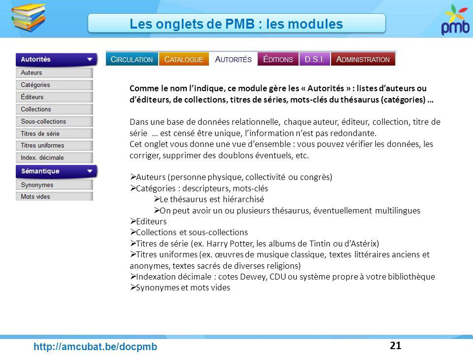 21 http://amcubat.be/docpmb Les onglets de PMB : les modules Comme le nom lindique, ce module gère les « Autorités » : listes dauteurs ou déditeurs, d