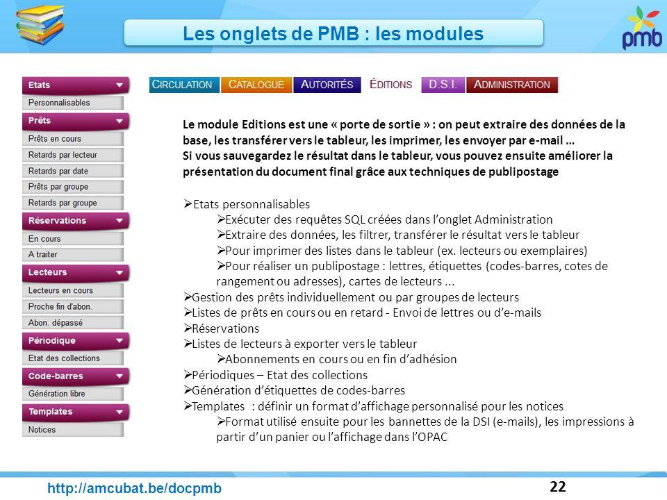 22 http://amcubat.be/docpmb Les onglets de PMB : les modules Le module Editions est une « porte de sortie » : on peut extraire des données de la base,