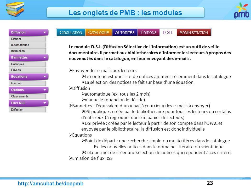 23 http://amcubat.be/docpmb Les onglets de PMB : les modules Le module D.S.I. (Diffusion Sélective de lInformation) est un outil de veille documentair