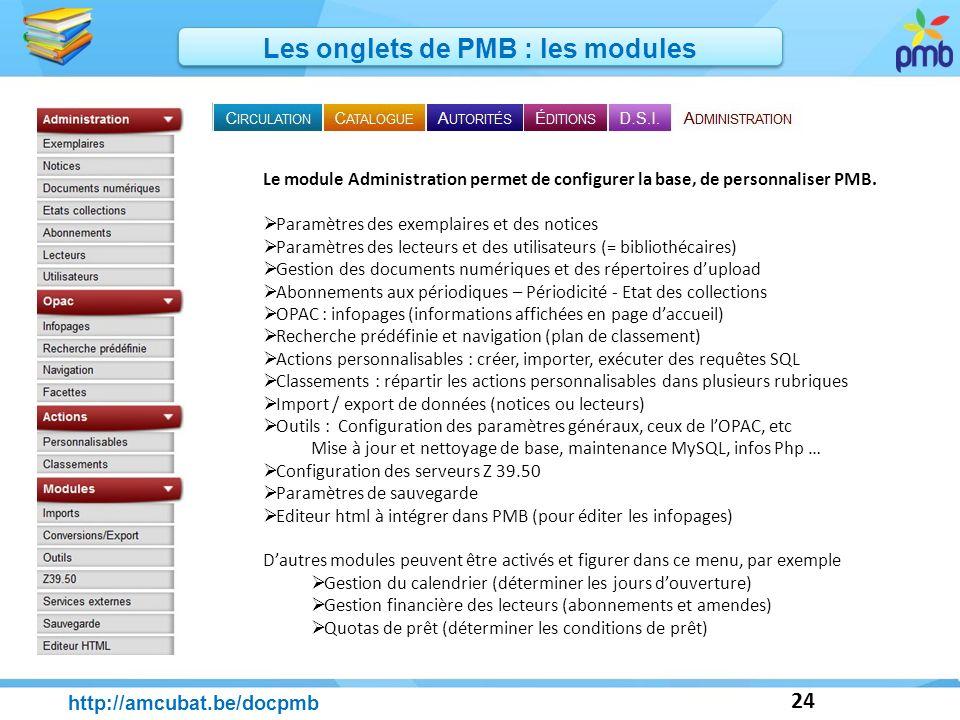 24 http://amcubat.be/docpmb Les onglets de PMB : les modules Le module Administration permet de configurer la base, de personnaliser PMB. Paramètres d