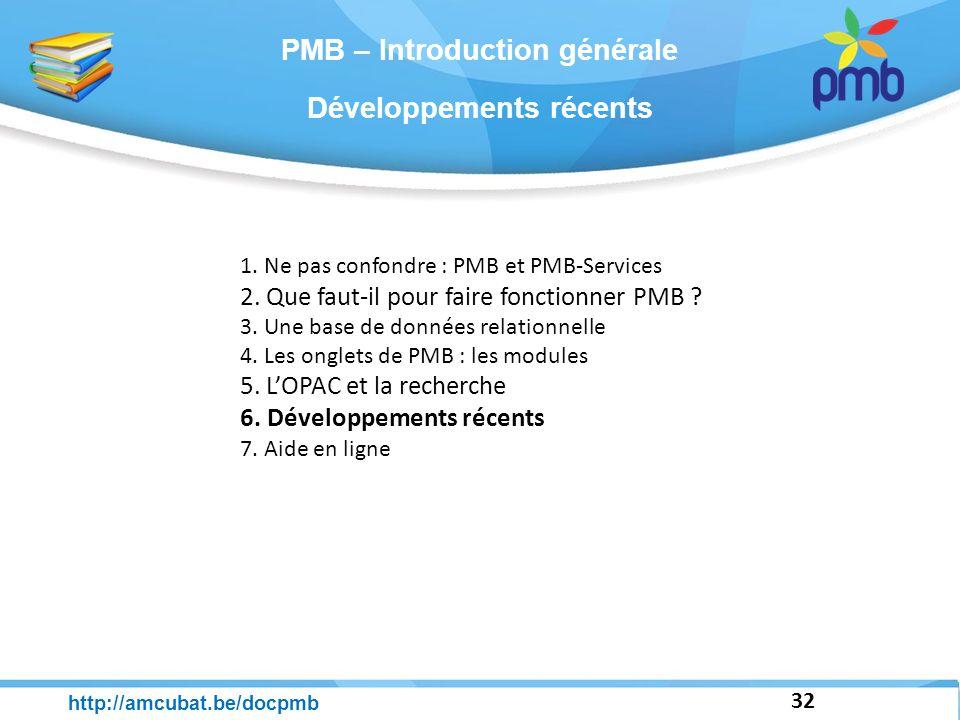 Développements récents 32 http://amcubat.be/docpmb 1. Ne pas confondre : PMB et PMB-Services 2. Que faut-il pour faire fonctionner PMB ? 3. Une base d