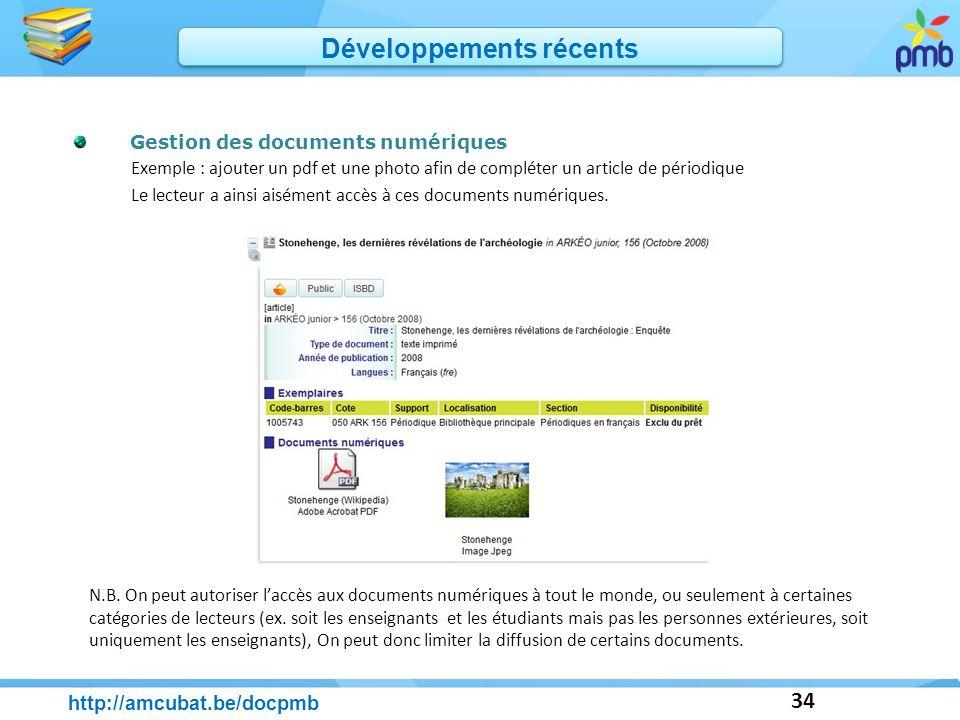 34 Gestion des documents numériques Exemple : ajouter un pdf et une photo afin de compléter un article de périodique Le lecteur a ainsi aisément accès