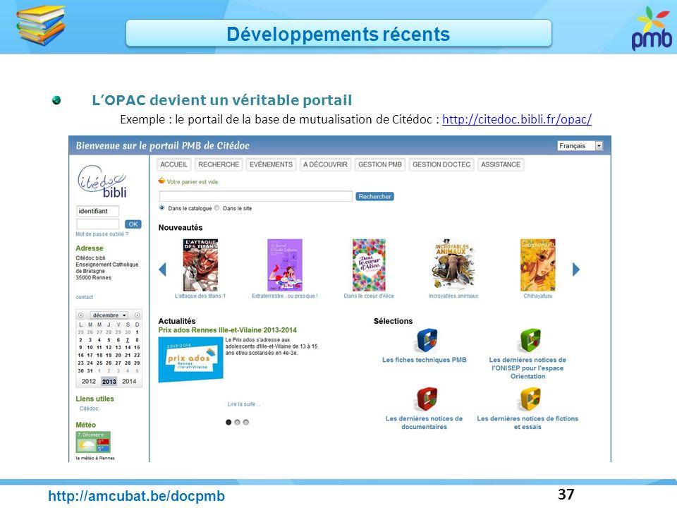 37 LOPAC devient un véritable portail Exemple : le portail de la base de mutualisation de Citédoc : http://citedoc.bibli.fr/opac/http://citedoc.bibli.