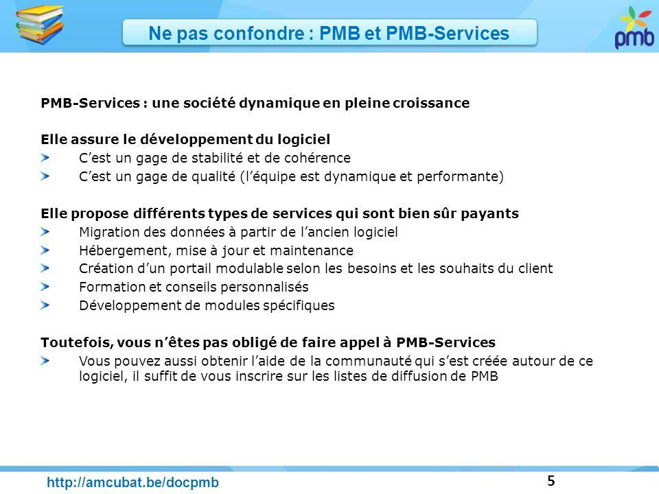 5 http://amcubat.be/docpmb Ne pas confondre : PMB et PMB-Services PMB-Services : une société dynamique en pleine croissance Elle assure le développeme