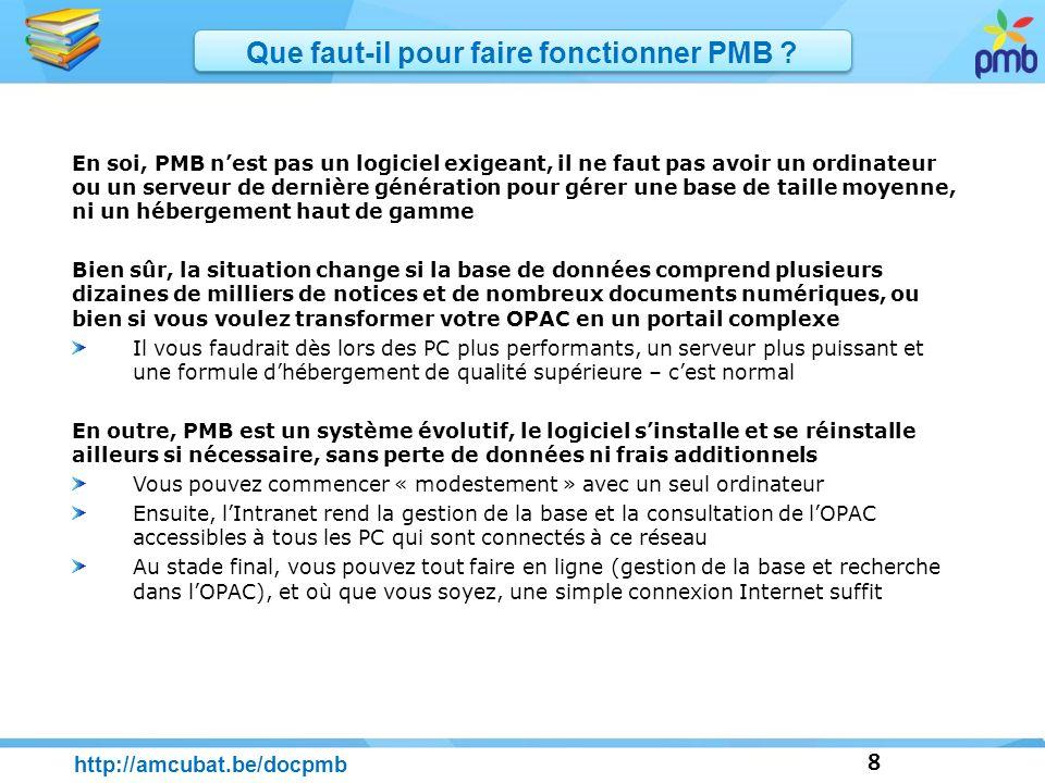 29 http://amcubat.be/docpmb LOPAC et la recherche Les types de recherche PMB propose 3 types de recherche en gestion ou dans lOPAC : recherche simple, multicritères ou par termes (thésaurus) N.B.