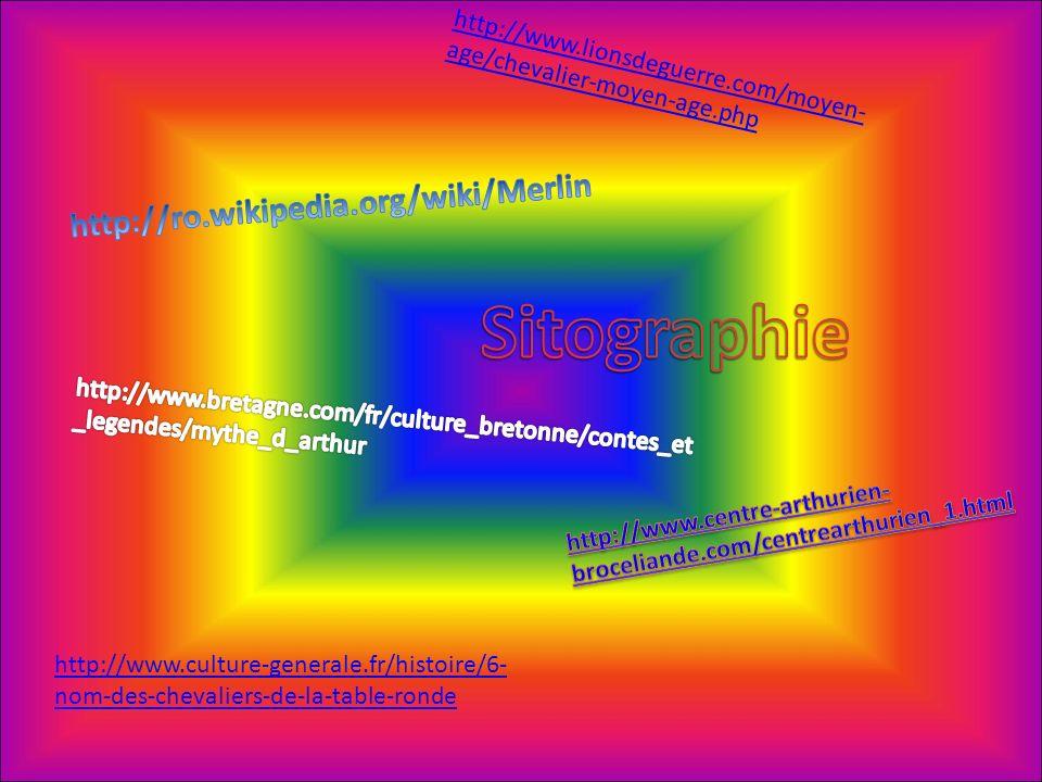http://www.lionsdeguerre.com/moyen- age/chevalier-moyen-age.php http://www.culture-generale.fr/histoire/6- nom-des-chevaliers-de-la-table-ronde