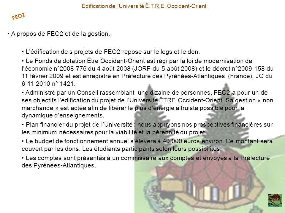 A propos de FEO2 et de la gestion. Lédification de s projets de FEO2 repose sur le legs et le don. Le Fonds de dotation Être Occident-Orient est régi