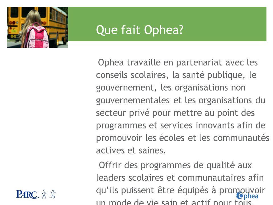 Que fait Ophea? Ophea travaille en partenariat avec les conseils scolaires, la santé publique, le gouvernement, les organisations non gouvernementales