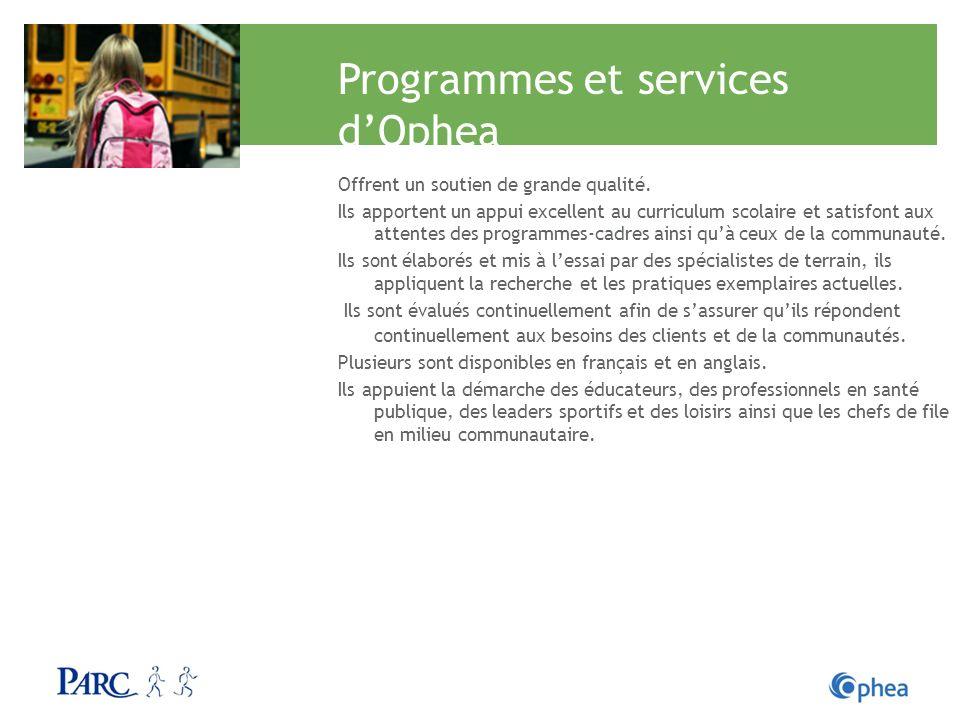 Programmes et services dOphea Offrent un soutien de grande qualité. Ils apportent un appui excellent au curriculum scolaire et satisfont aux attentes