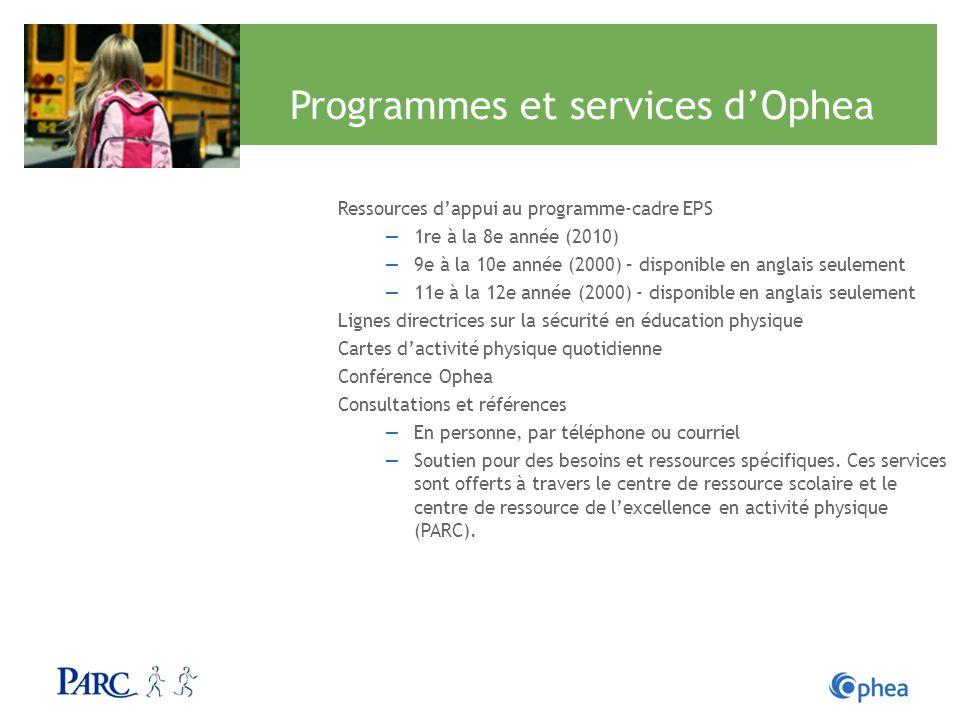 Programmes et services dOphea Ressources dappui au programme-cadre EPS 1re à la 8e année (2010) 9e à la 10e année (2000) – disponible en anglais seule