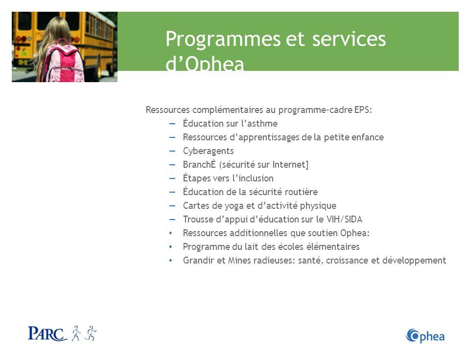 Programmes et services dOphea Ressources complémentaires au programme-cadre EPS: Éducation sur lasthme Ressources dapprentissages de la petite enfance
