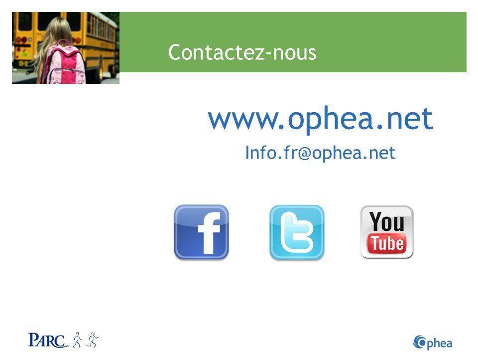 Contactez-nous www.ophea.net Info.fr@ophea.net