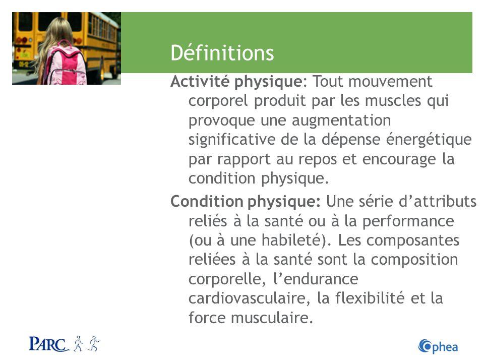 Définitions Activité physique: Tout mouvement corporel produit par les muscles qui provoque une augmentation significative de la dépense énergétique p