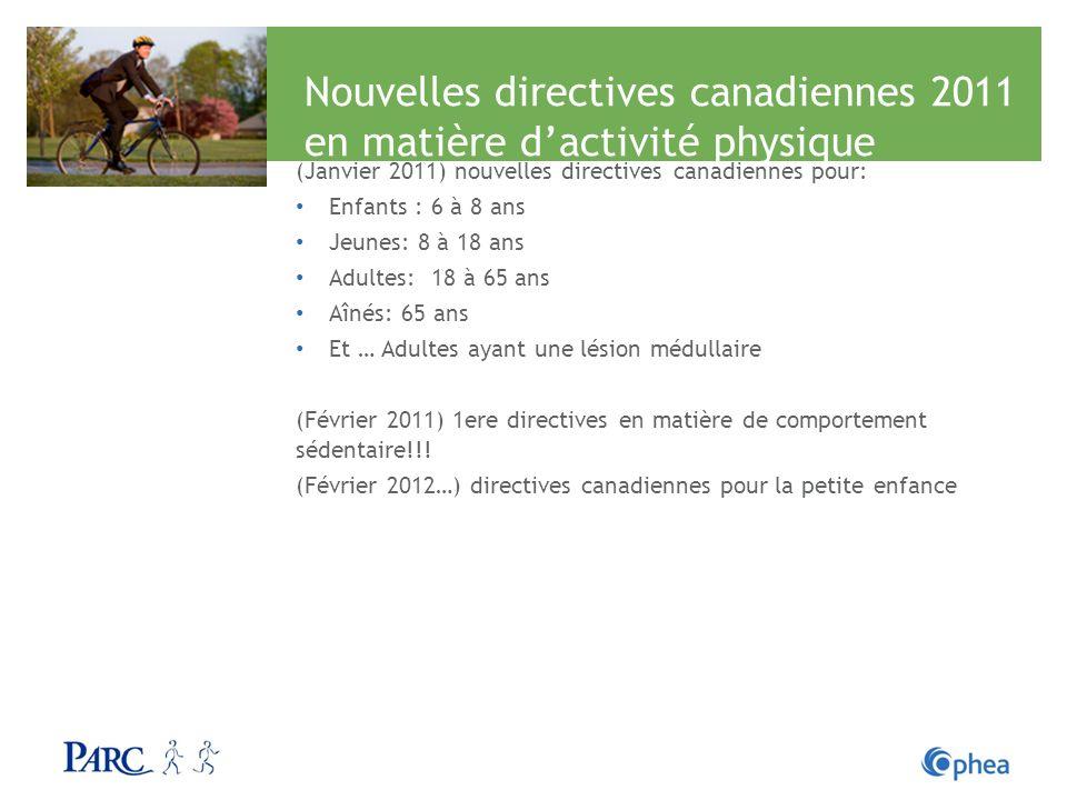 Nouvelles directives canadiennes 2011 en matière dactivité physique (Janvier 2011) nouvelles directives canadiennes pour: Enfants : 6 à 8 ans Jeunes: