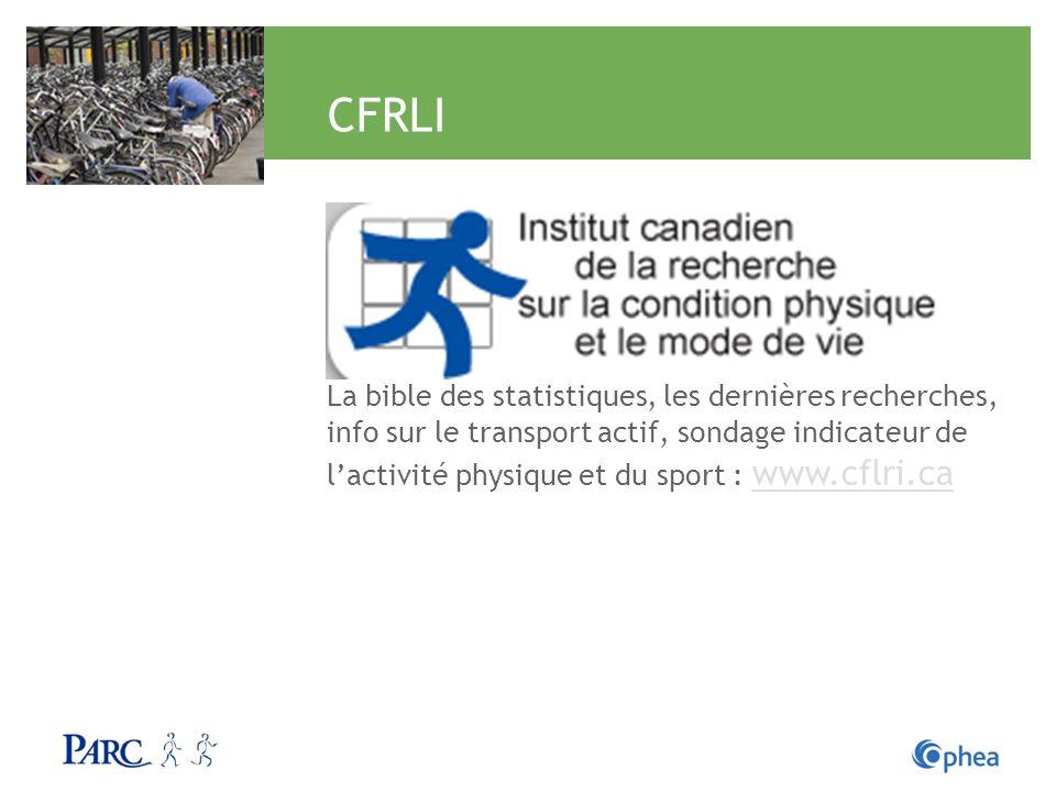 CFRLI La bible des statistiques, les dernières recherches, info sur le transport actif, sondage indicateur de lactivité physique et du sport : www.cfl
