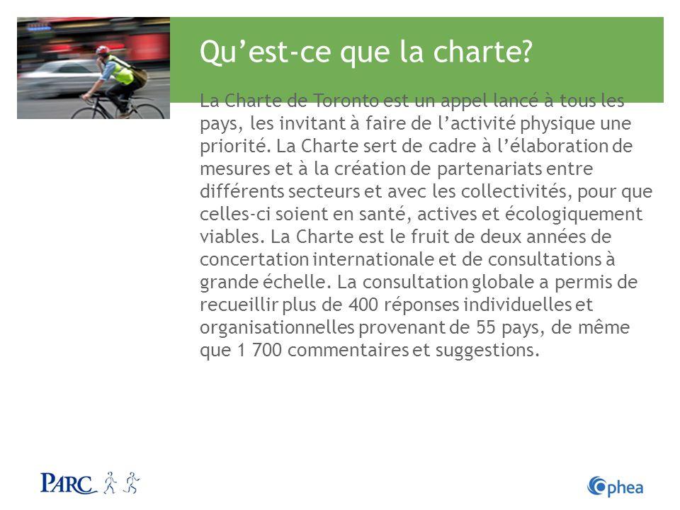 Quest-ce que la charte? La Charte de Toronto est un appel lancé à tous les pays, les invitant à faire de lactivité physique une priorité. La Charte se