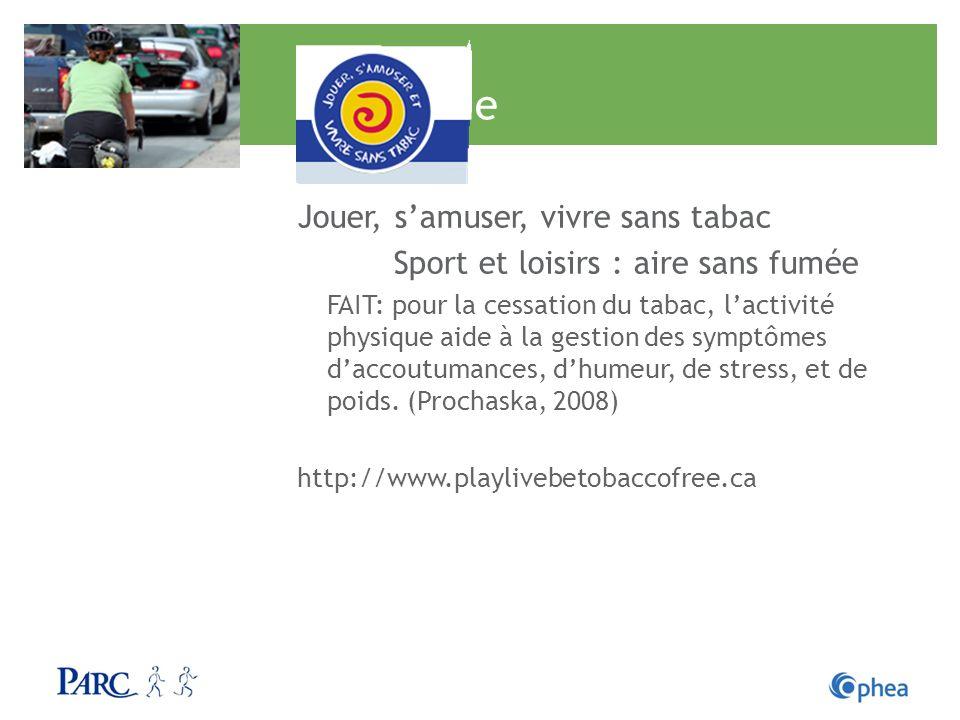 Tabagisme Jouer, samuser, vivre sans tabac Sport et loisirs : aire sans fumée FAIT: pour la cessation du tabac, lactivité physique aide à la gestion d
