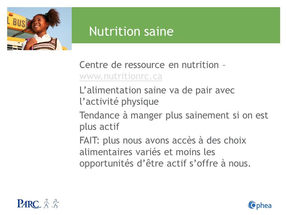 Nutrition saine Centre de ressource en nutrition – www.nutritionrc.ca www.nutritionrc.ca Lalimentation saine va de pair avec lactivité physique Tendan