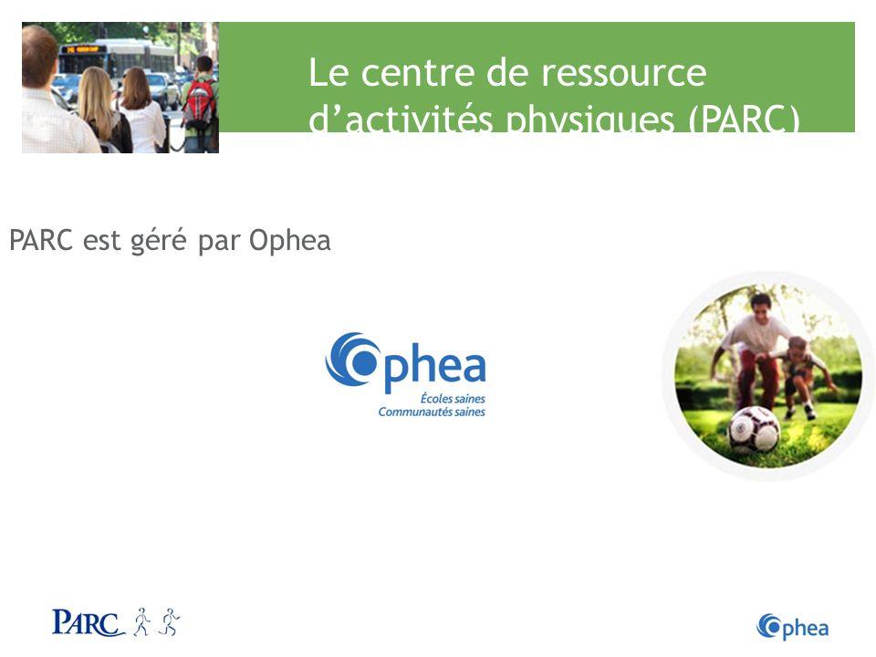 Le centre de ressource dactivités physiques (PARC) PARC est géré par Ophea