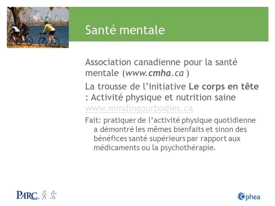 Santé mentale Association canadienne pour la santé mentale (www.cmha.ca ) La trousse de linitiative Le corps en tête : Activité physique et nutrition