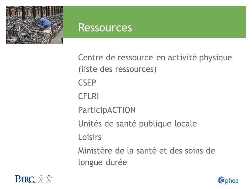 Ressources Centre de ressource en activité physique (liste des ressources) CSEP CFLRI ParticipACTION Unités de santé publique locale Loisirs Ministère