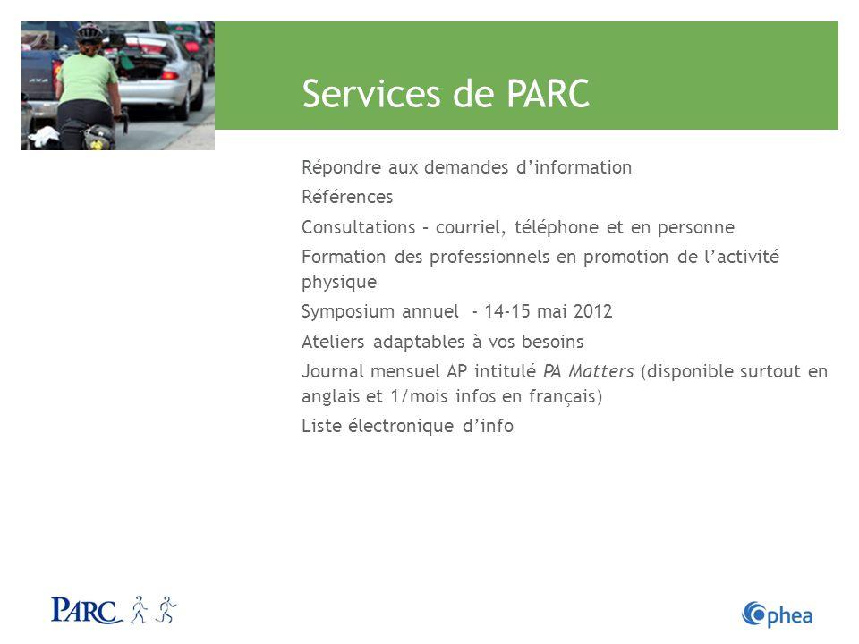 Services de PARC Répondre aux demandes dinformation Références Consultations – courriel, téléphone et en personne Formation des professionnels en prom