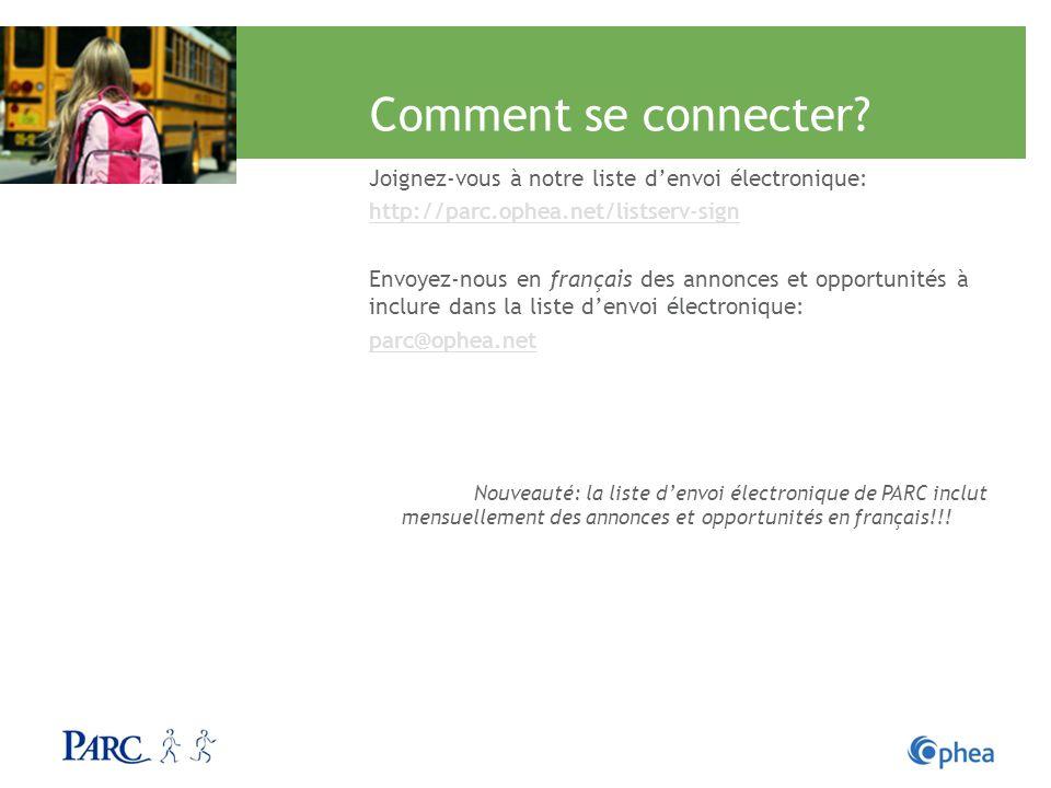 Comment se connecter? Joignez-vous à notre liste denvoi électronique: http://parc.ophea.net/listserv-sign Envoyez-nous en français des annonces et opp