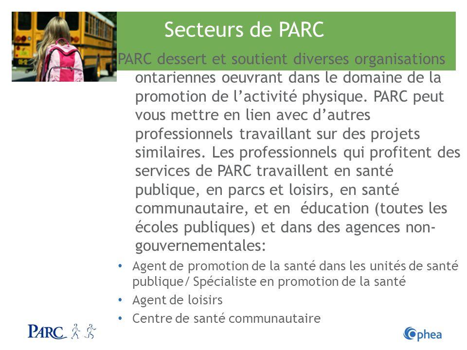 Secteurs de PARC PARC dessert et soutient diverses organisations ontariennes oeuvrant dans le domaine de la promotion de lactivité physique. PARC peut