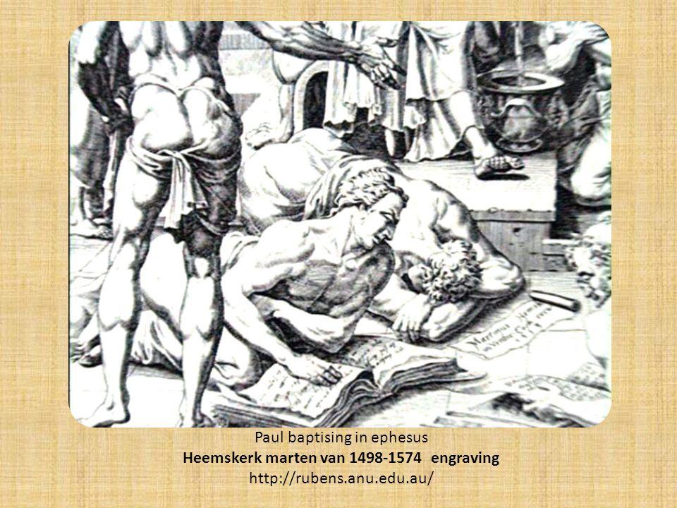 Paul baptising in ephesus Heemskerk marten van 1498-1574 engraving http://rubens.anu.edu.au/