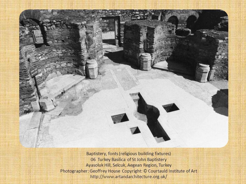 Baptistery, fonts (religious building fixtures) 06 Turkey Basilica of St John Baptistery Ayasoluk Hill, Selcuk, Aegean Region, Turkey Photographer: Ge