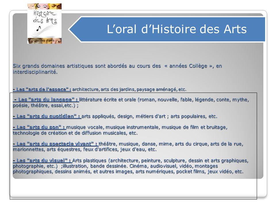 Six grands domaines artistiques sont abordés au cours des « années Collège », en interdisciplinarité. - Les